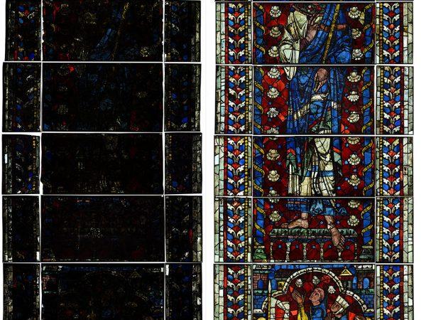 Chartres - Cathédrale Notre Dame - baie 136b - Etat avant et après restauration