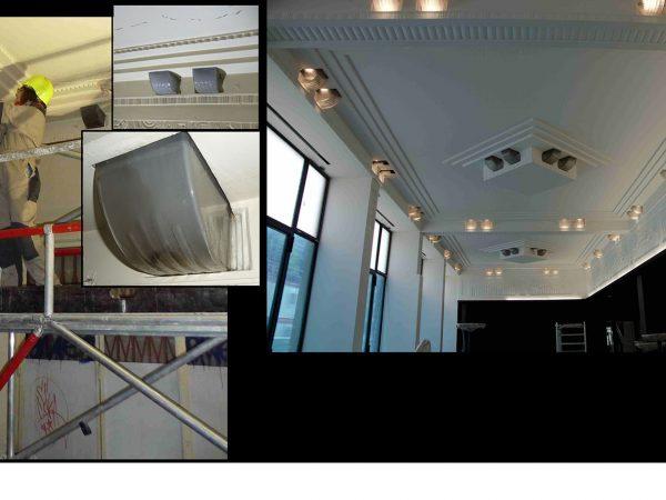 Paris - Piscine Molitor - Luminaires ateliers Damon et Turlan (années 30) - Etat avant et après restauration