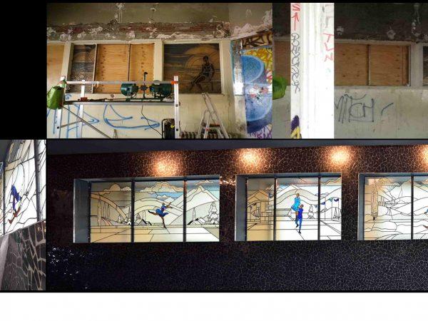 Paris - Piscine Molitor - Vitraux ateliers Damon et Turlan (années 30) - Etat avant et après restauration